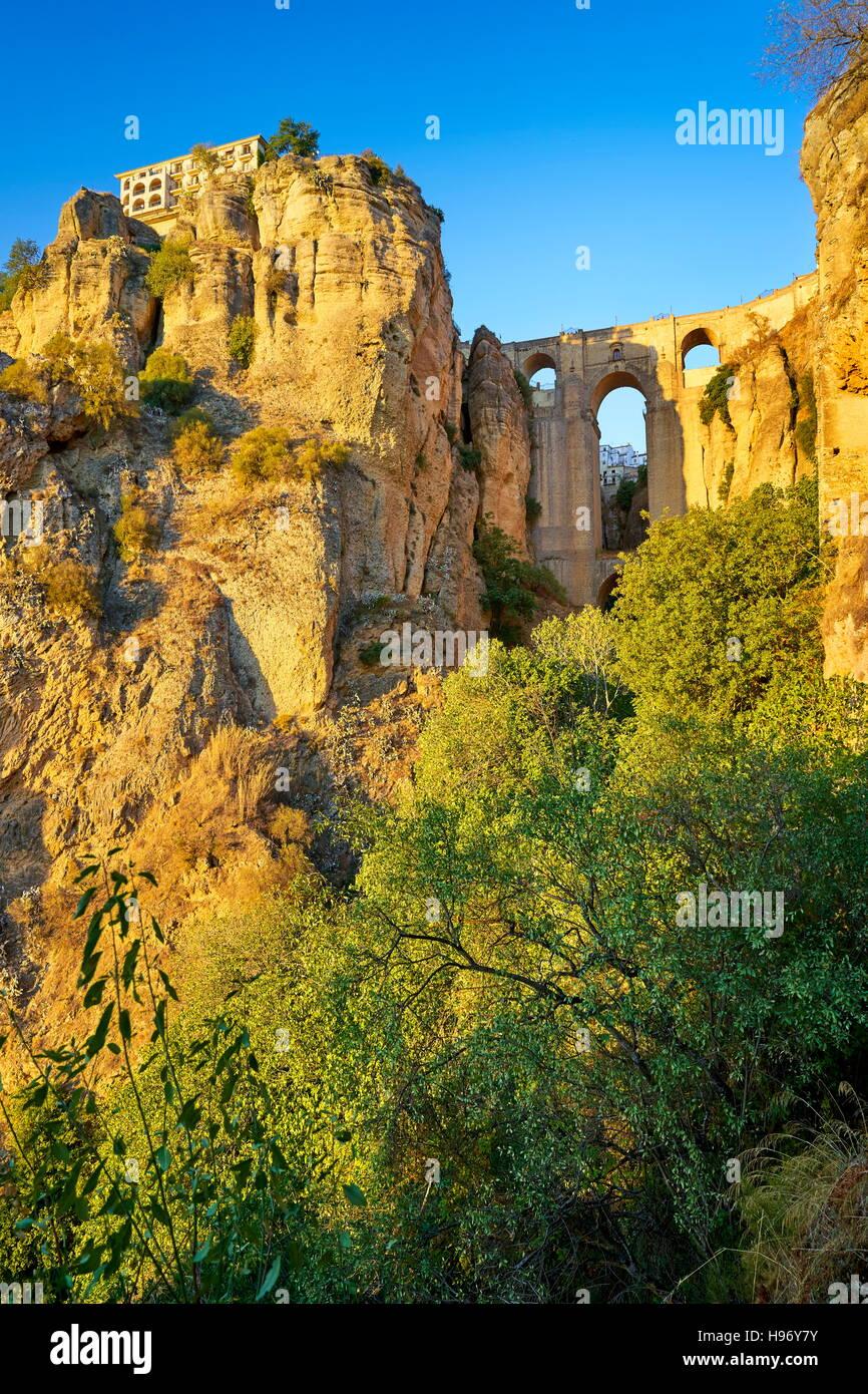 Ronda, Tajo Gorge Canyon, Puente Nuevo Puente, Andalucía, España Imagen De Stock