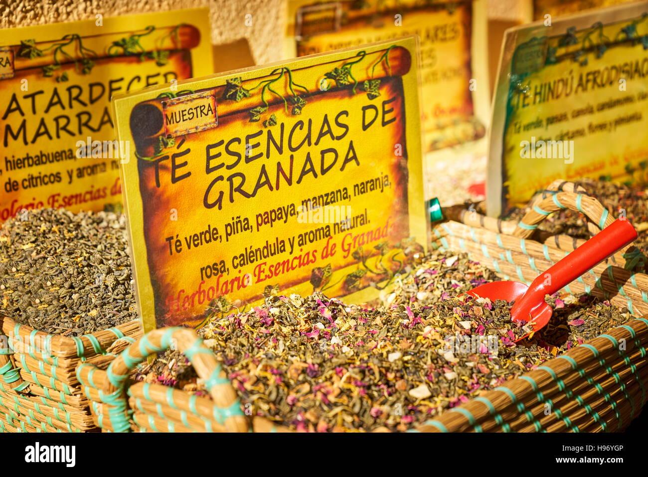 Tienda de té de hierbas y Granada, Granada, España Imagen De Stock