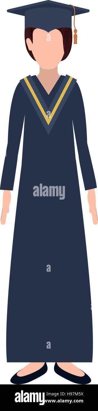 efb01d2a5 Silueta mujer con traje de graduación ilustración vectorial Imagen De Stock