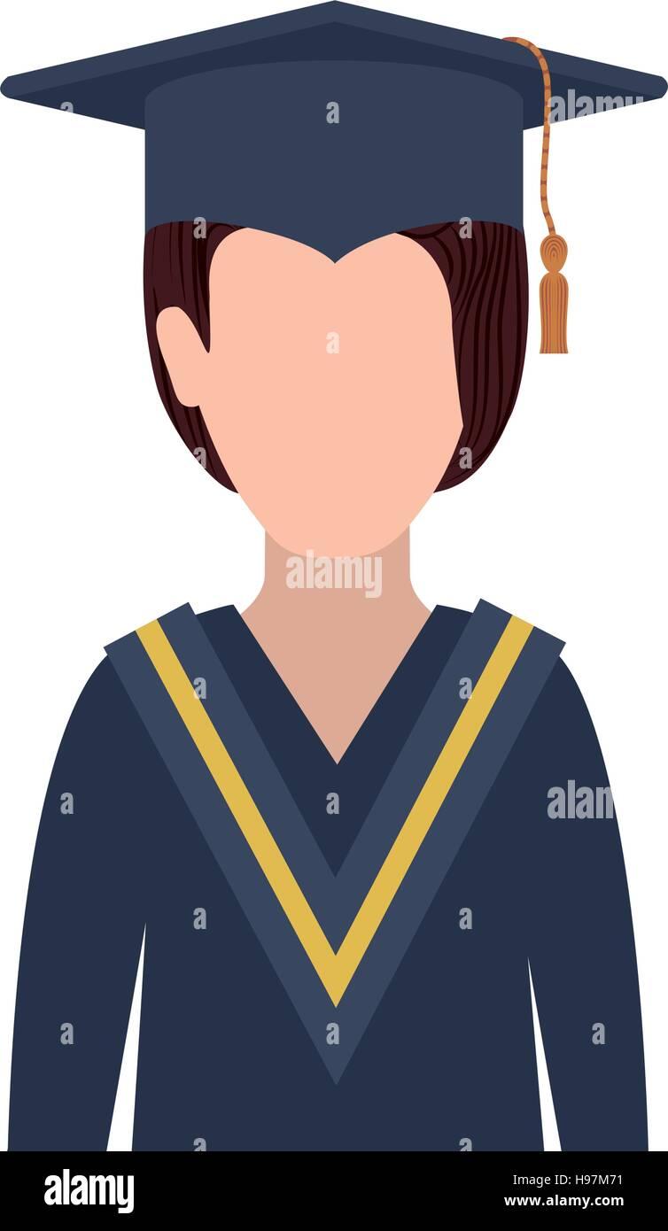 6e32f0827 Mujer de medio cuerpo con traje de graduación ilustración vectorial Imagen  De Stock