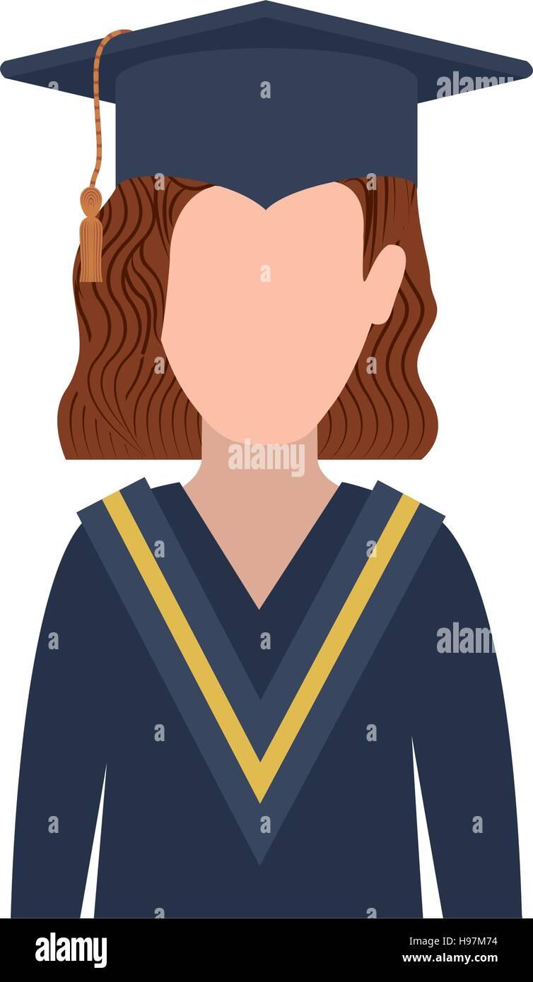 8e728dd62 Mujer de medio cuerpo con traje de graduación y redhair ilustración  vectorial Imagen De Stock