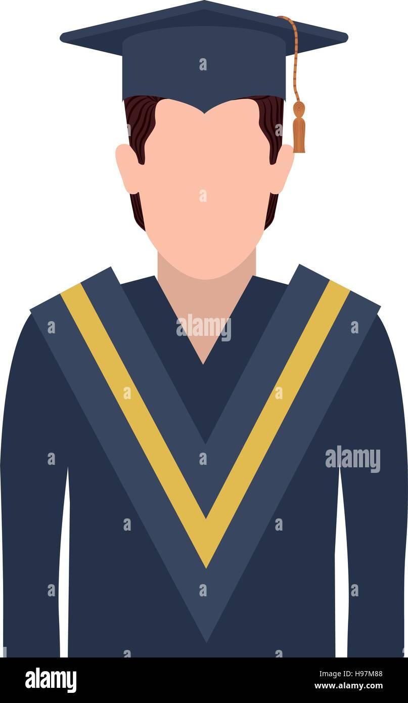 b93e0b0d1 Hombre de medio cuerpo con traje de graduación ilustración vectorial Imagen  De Stock