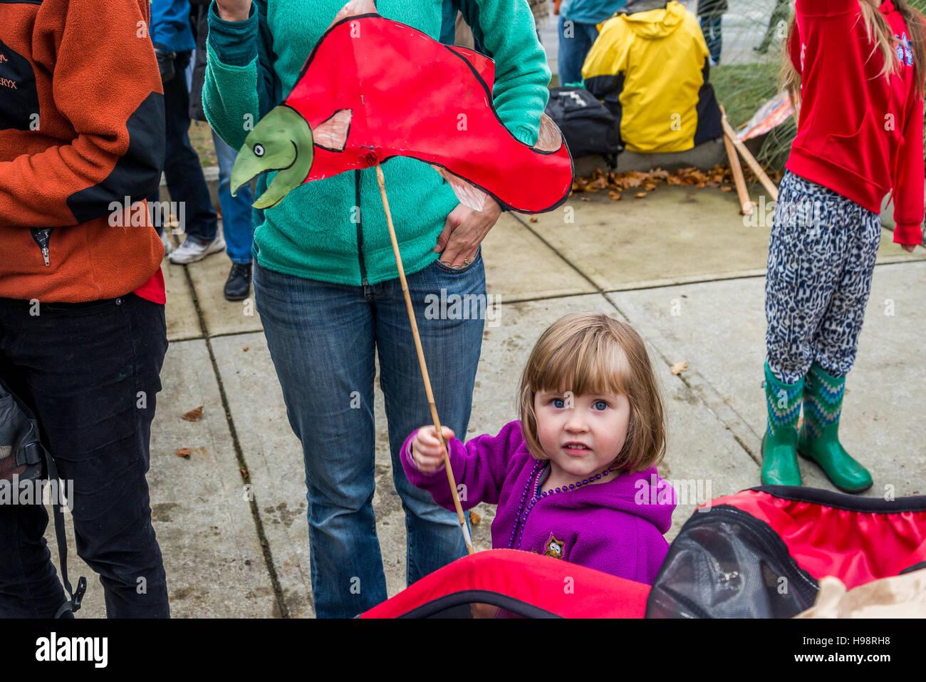 Vancouver, Canadá. El 19 de noviembre, 2016. Anti Kinder Morgan Pipeline de protesta y marzo, Vancouver, British Imagen De Stock