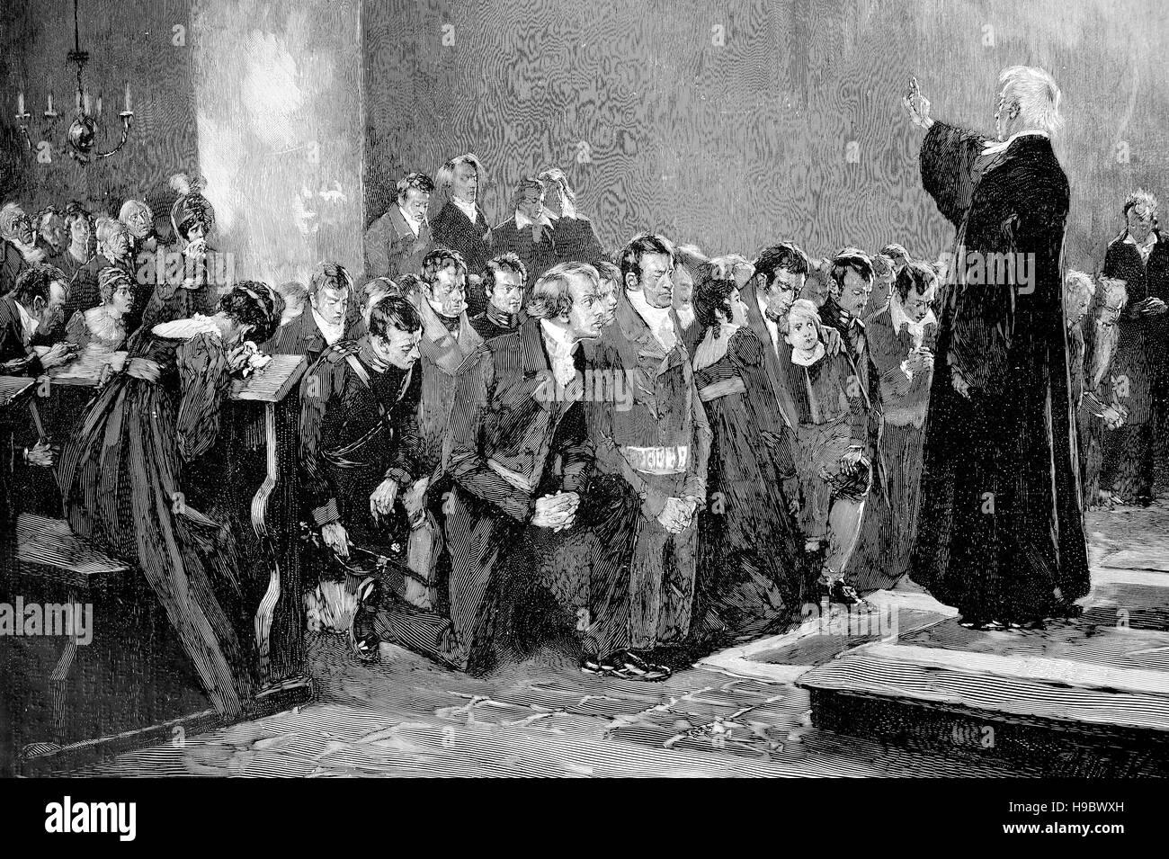 Bendición de voluntarios de la guerra de 1813, Guerras Napoleónicas, ilustración histórica Foto de stock