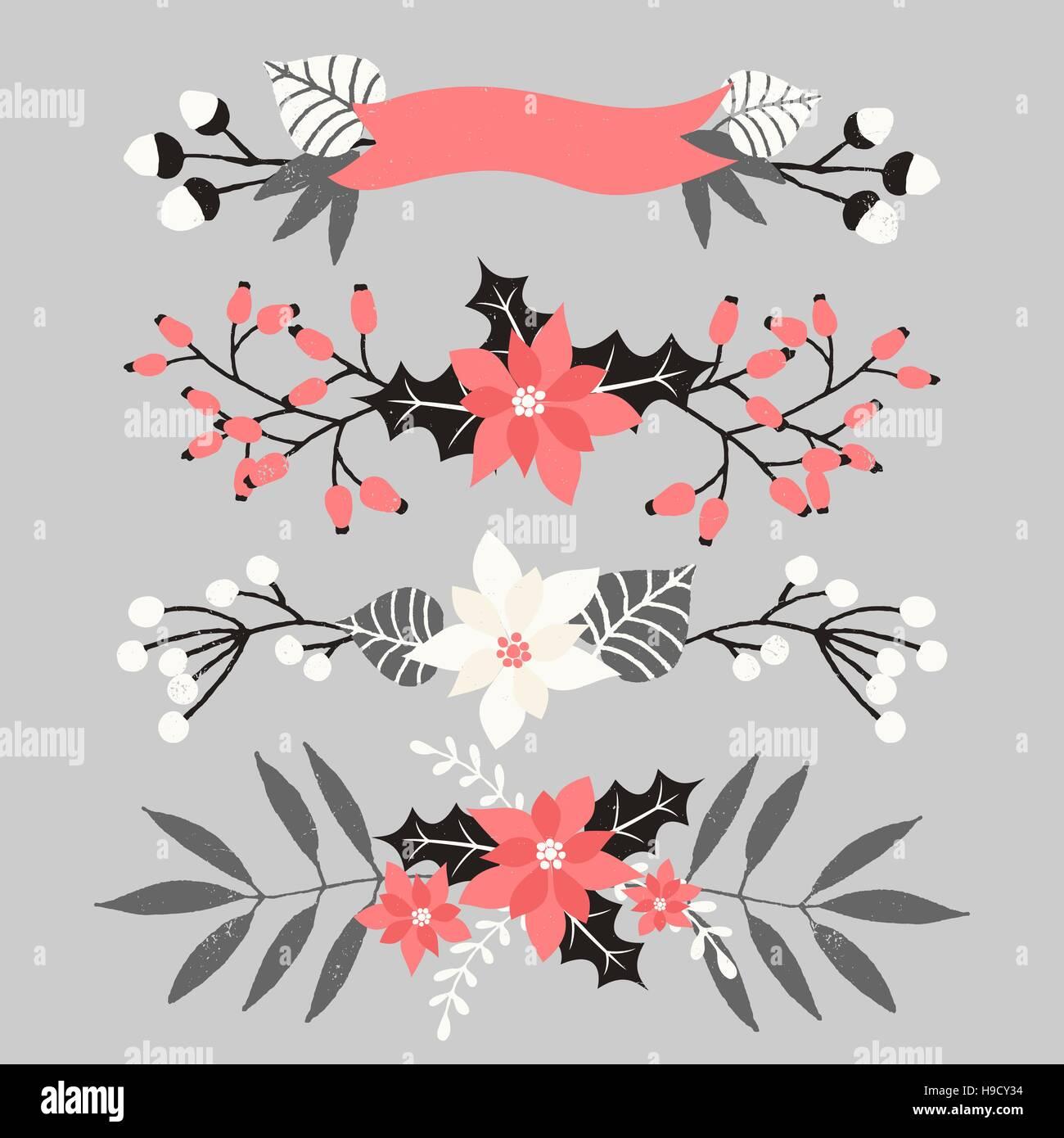 Un Conjunto De Arreglos Florales De Navidad En Blanco Rojo