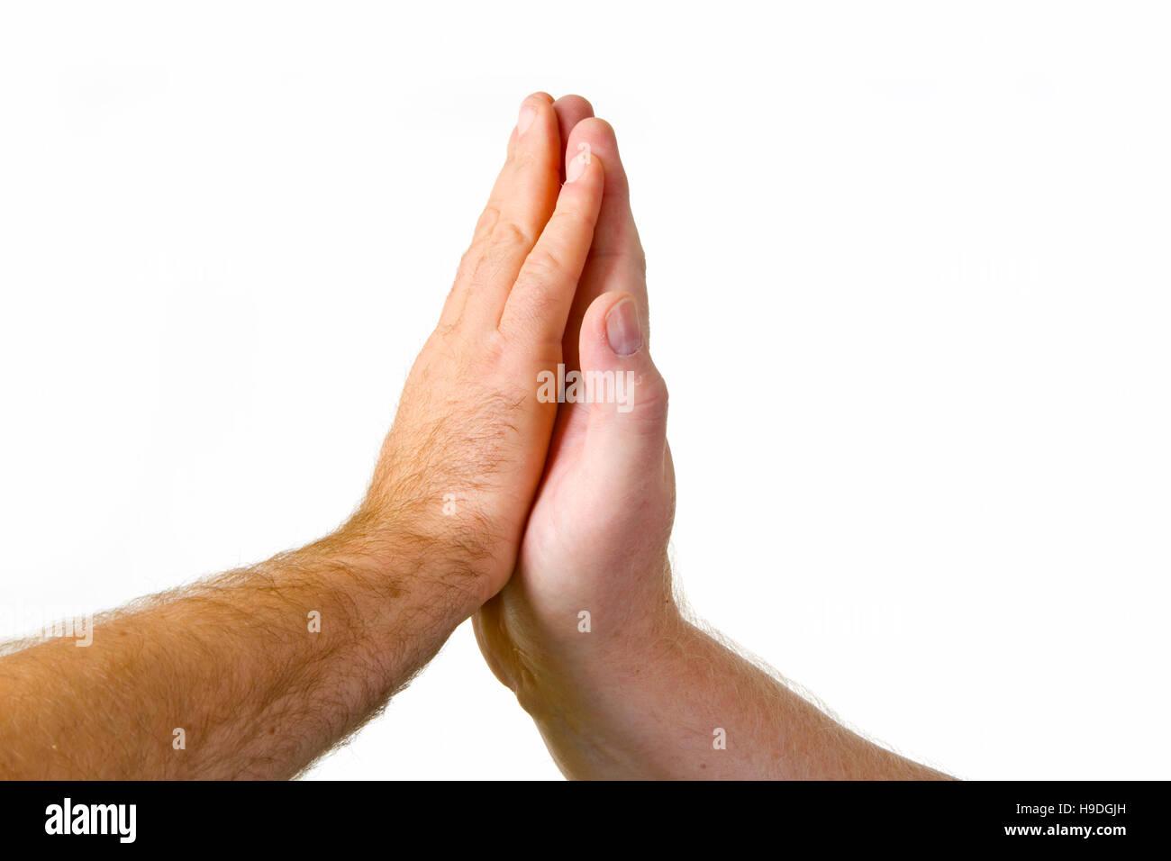 Me dan cinco gesto - aisladas sobre fondo blanco. Foto de stock