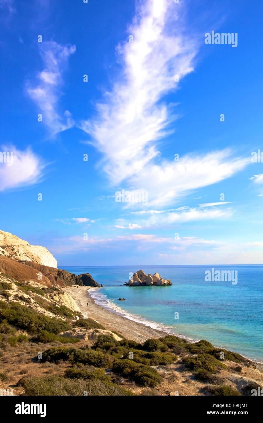 Rock sarracena, en Paphos, Chipre, Mediterráneo Oriental Foto de stock