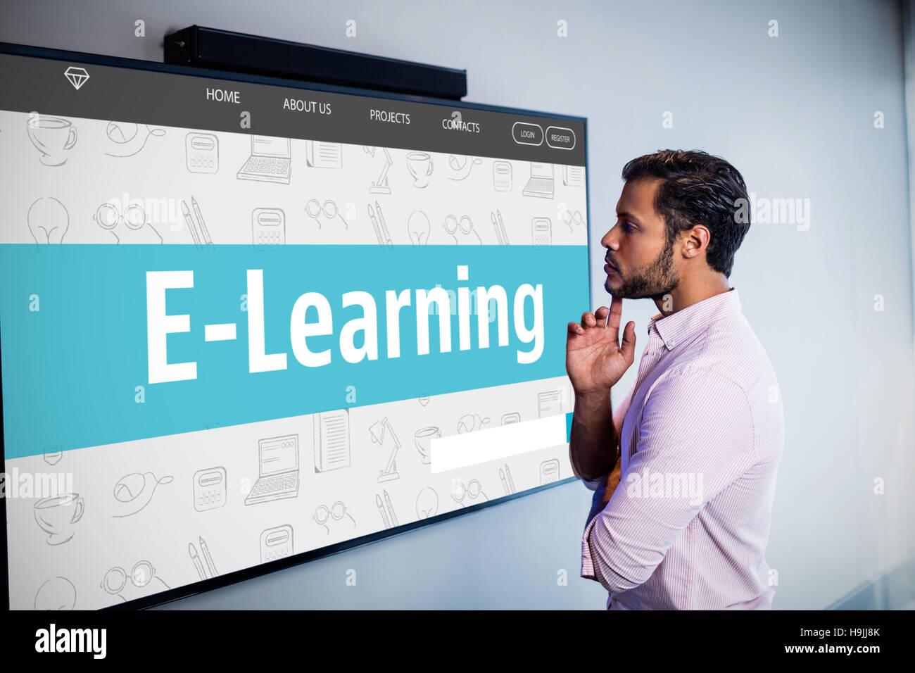 Imagen compuesta de interfaz de e-learning Foto de stock