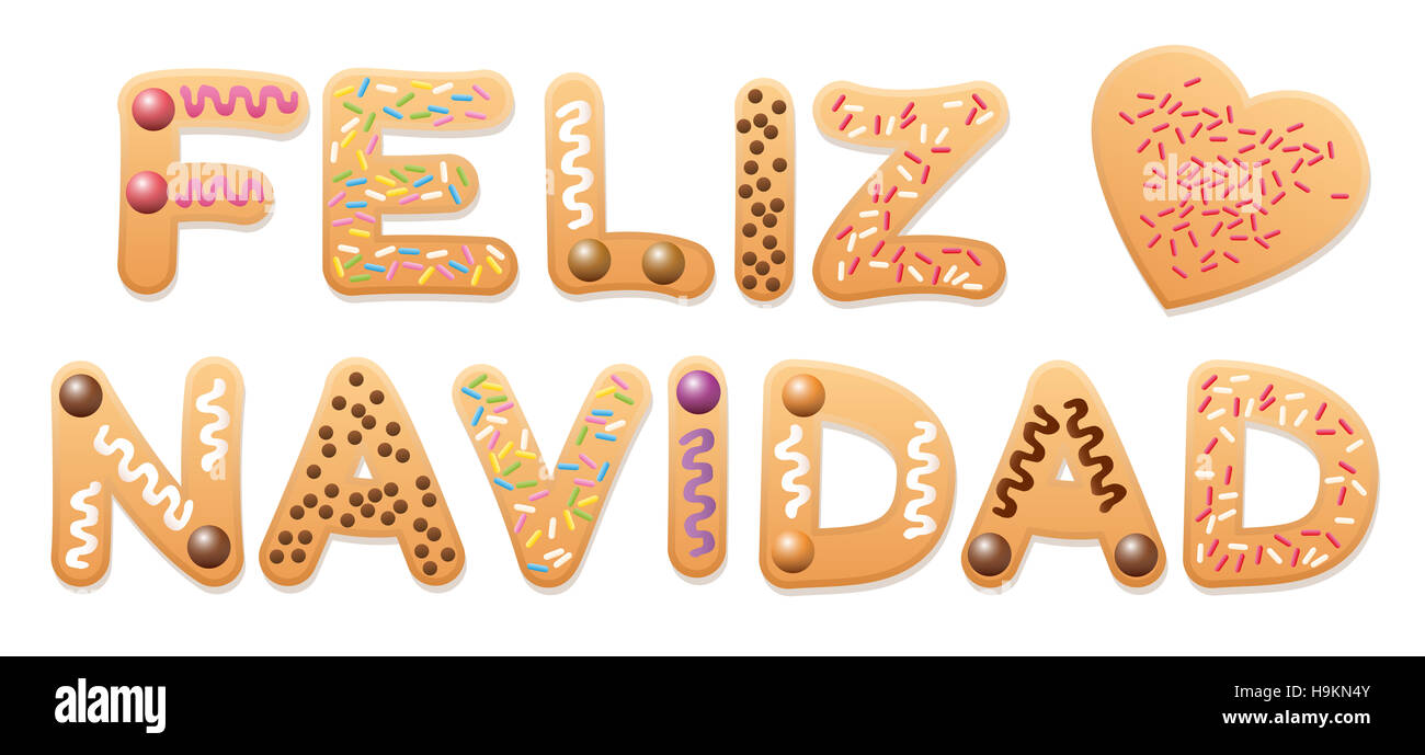 FELIZ NAVIDAD - Feliz Navidad en español - escrito con letras de galletas de Navidad. Imagen De Stock