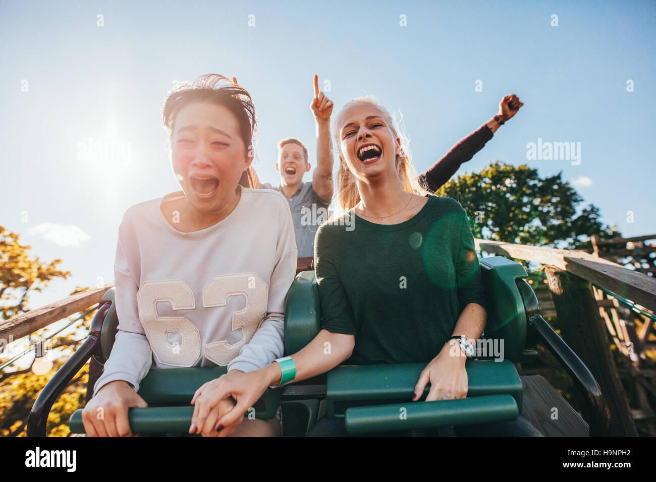 Entusiastas jóvenes amigos caballo viaje en montaña rusa en el parque de diversiones. Los jóvenes se diviertan en Foto de stock