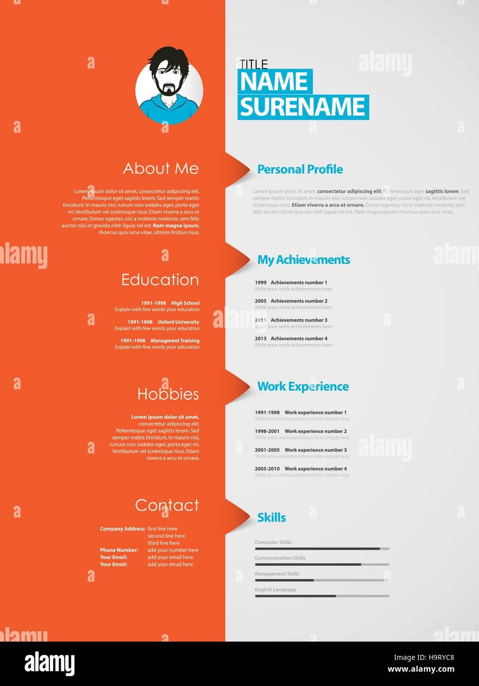 Curriculum Vitae Job Personal Info Imágenes De Stock & Curriculum ...