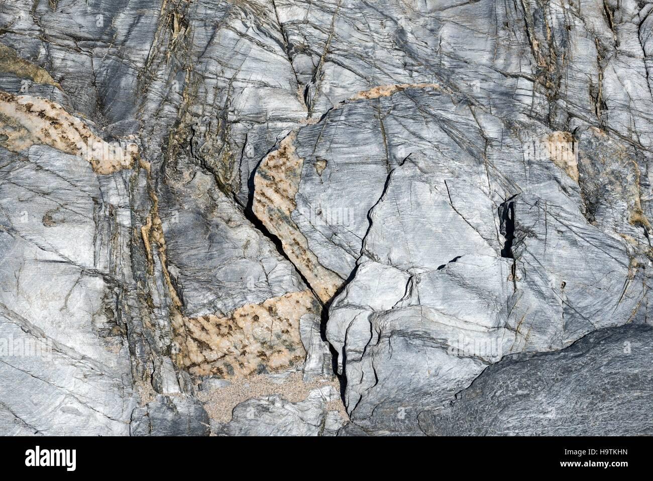 Desgastados y lava-slate, la textura, la Isla de Islay, Inner Hebrides, Scotland, Reino Unido Imagen De Stock