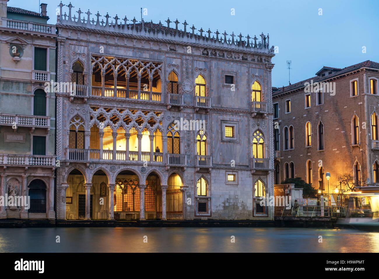 El Canal Grande, el Palacio Ca d Oro , Venedig, Venezia, Venecia, Italia, Europa Imagen De Stock