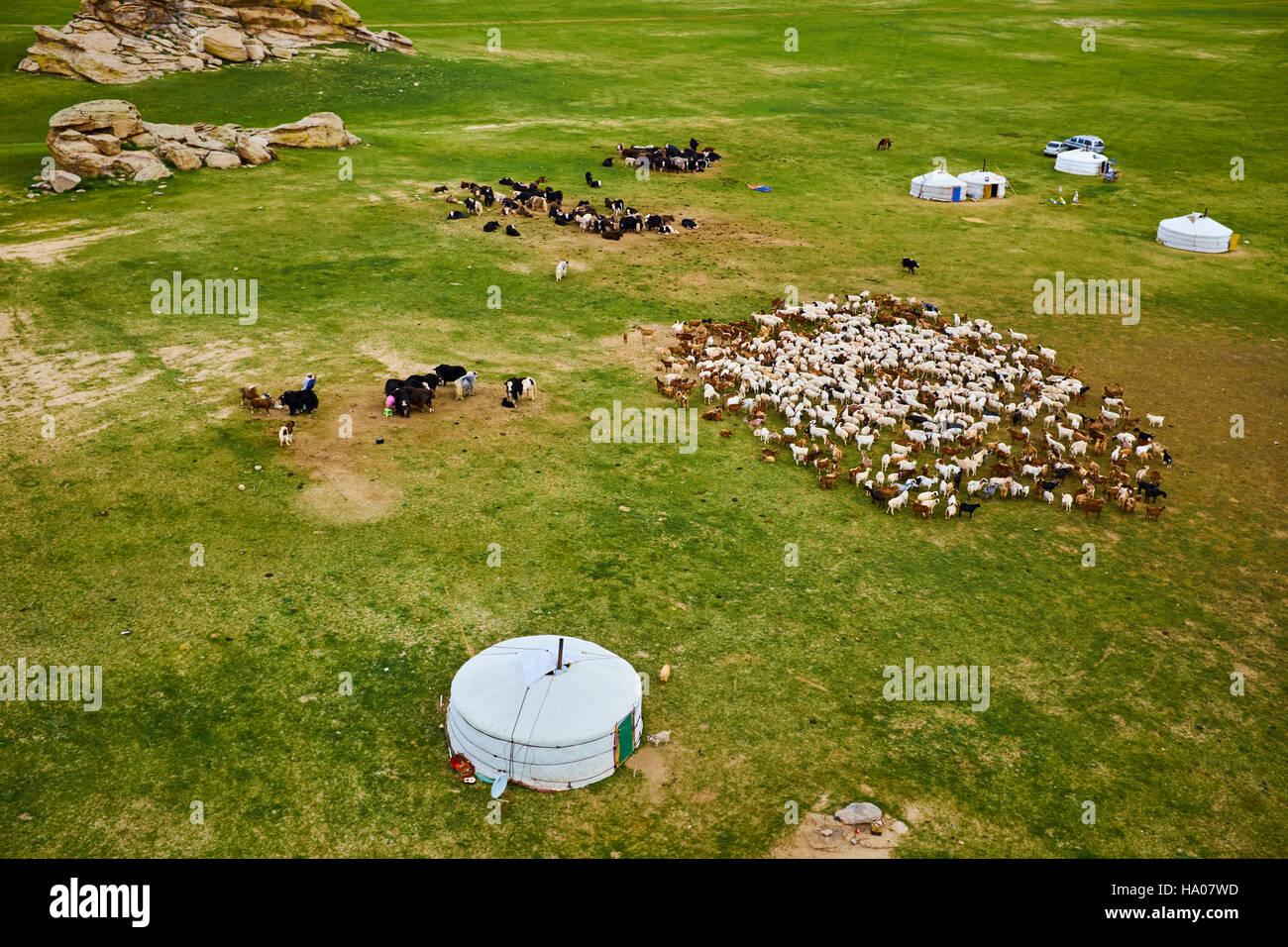 Mongolia, provincia de Bayankhongor, campamento nómada Imagen De Stock