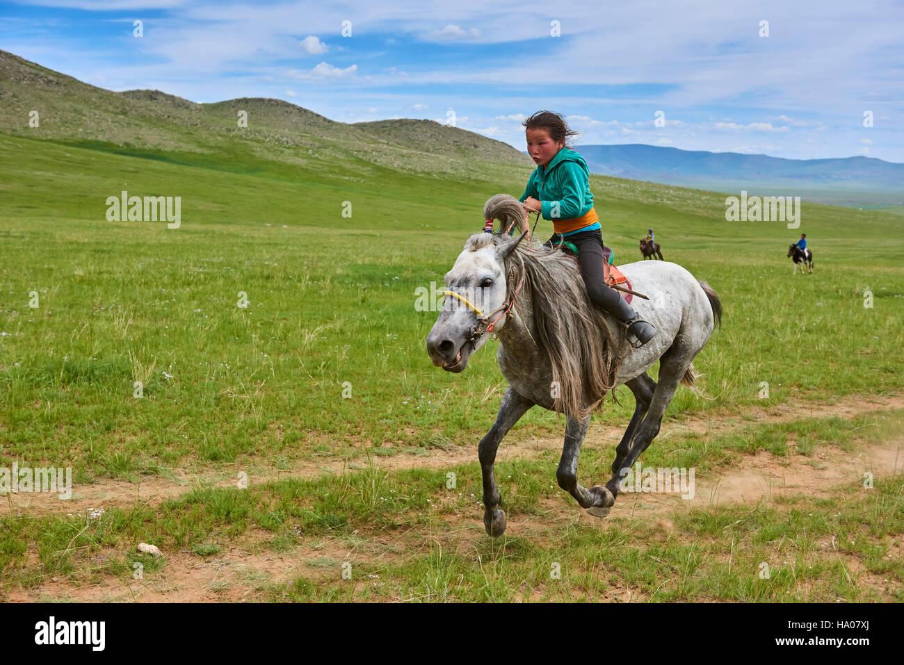Mongolia, provincia de Bayankhongor, Festival de Naadam, tradicionales, carreras de caballos Imagen De Stock