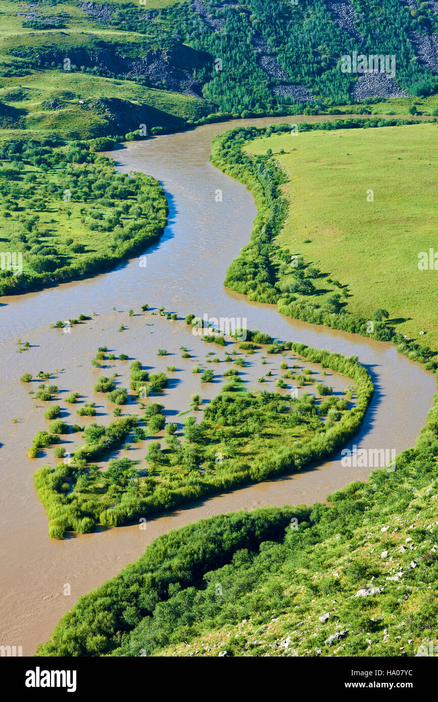 Mongolia, provincia Arkhangai, Orkhon River Gorge Imagen De Stock