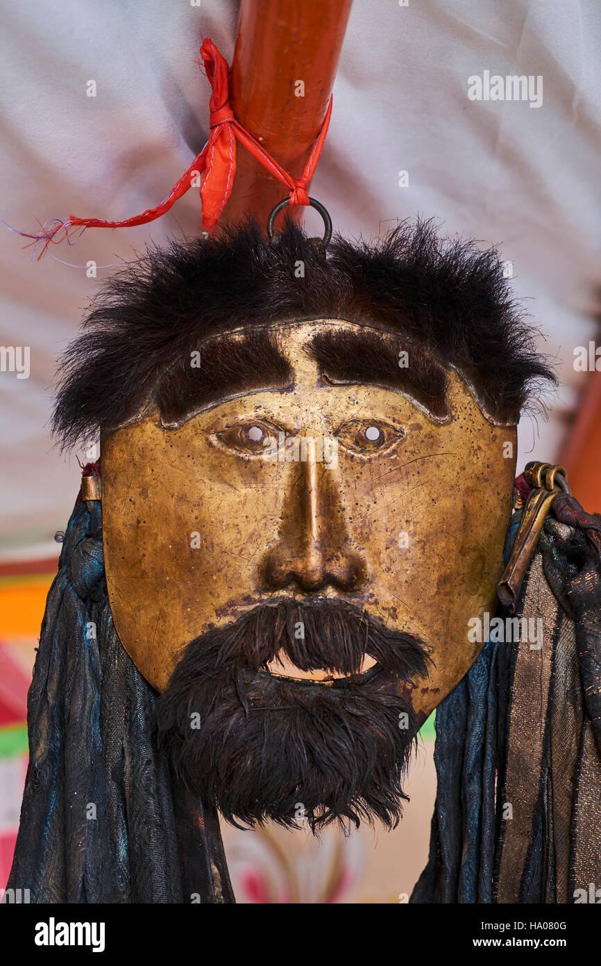 Mongolia, provincia de Khentii, Chamánicas máscara Imagen De Stock