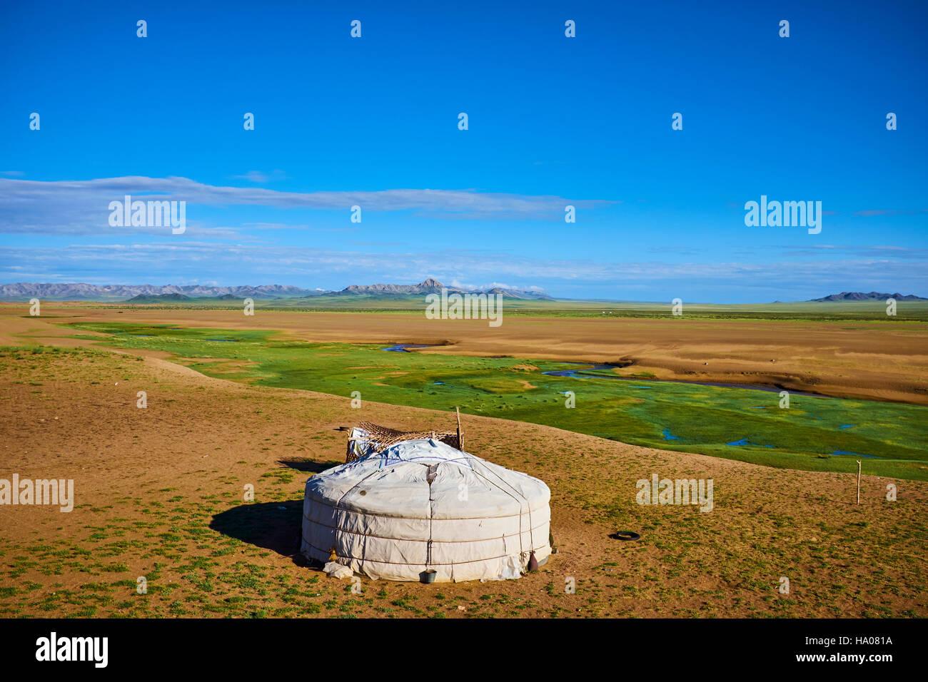 Mongolia, provincia de Zavkhan, Campamento nómada en la estepa Imagen De Stock