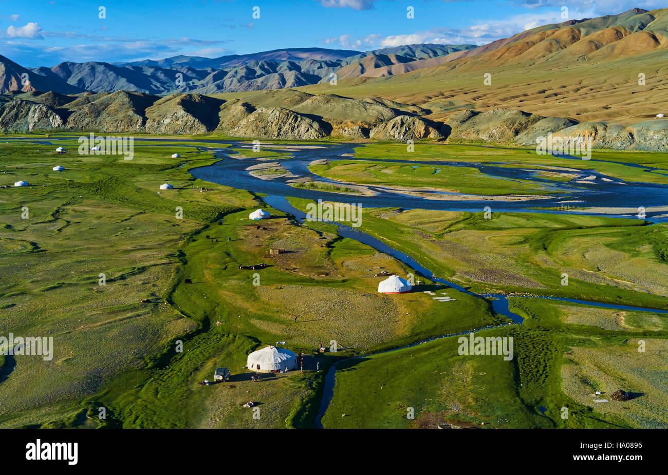 Mongolia, Bayan-Ulgii provincia, oeste de Mongolia, el delta del río Sagsay en las montañas de Altay Foto de stock
