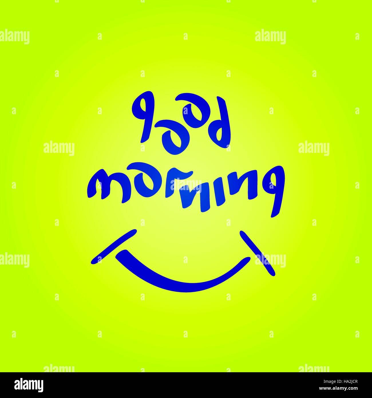 Buenos días texto con símbolo sonriente divertido buen humor ilustración vectorial. Imagen De Stock