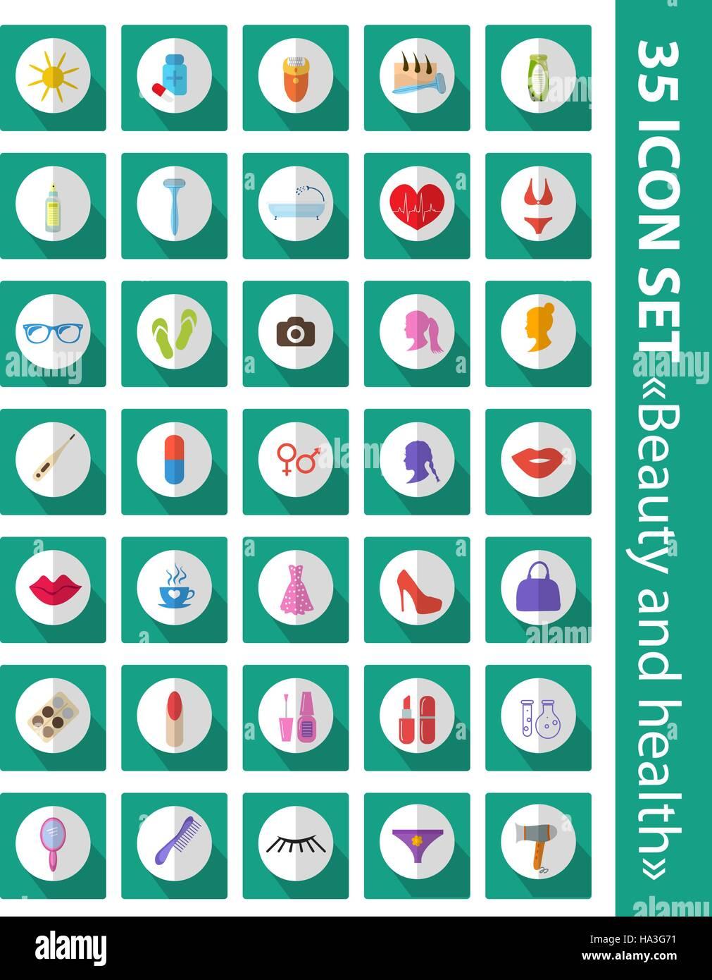 Conjunto de iconos vectoriales plana belleza, moda, salud. Cosméticos y cuidado del cuerpo, 35 conjunto de Imagen De Stock
