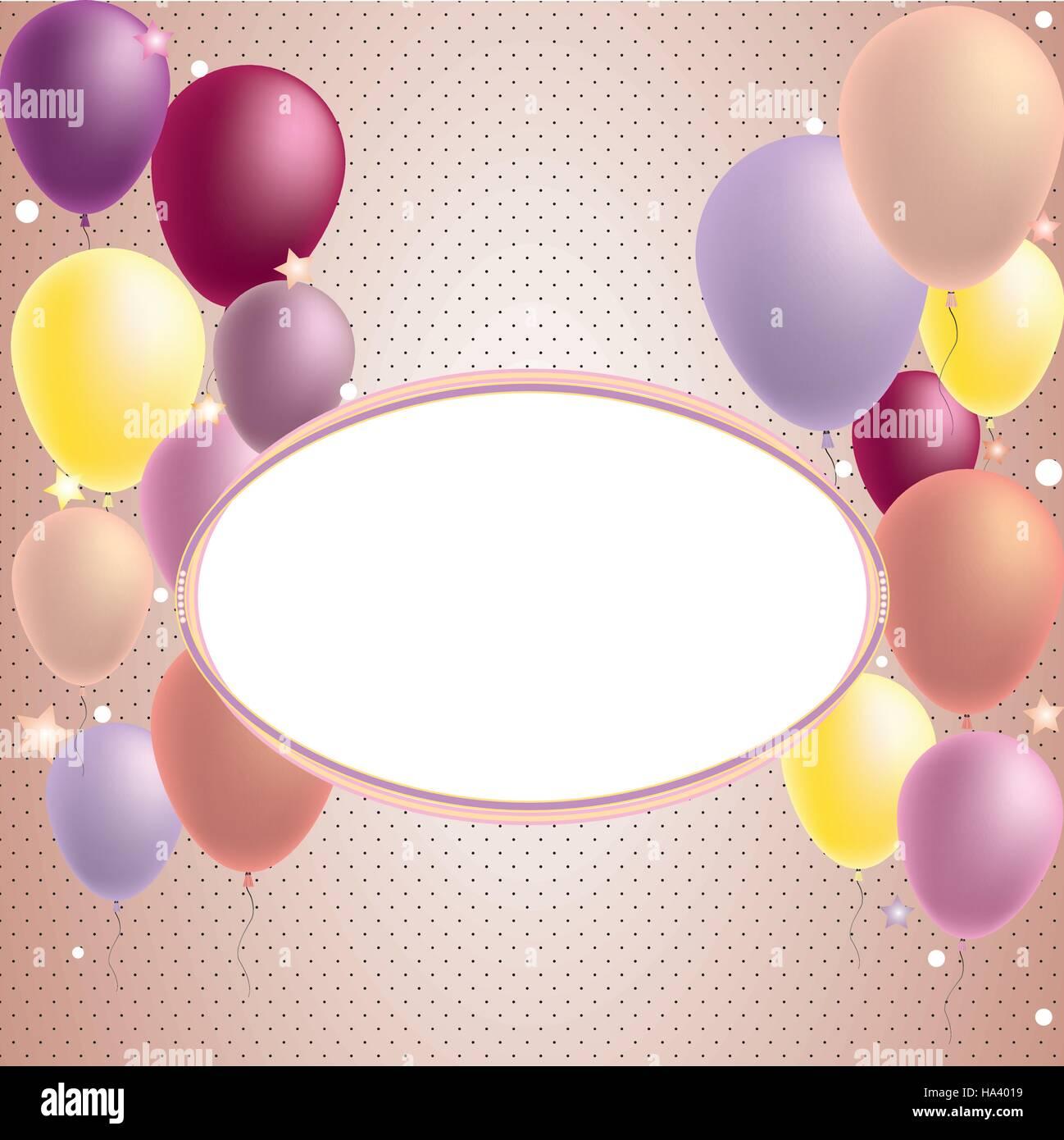 Feliz Cumpleaños Y Fiesta Globo Tarjeta De Invitación Con