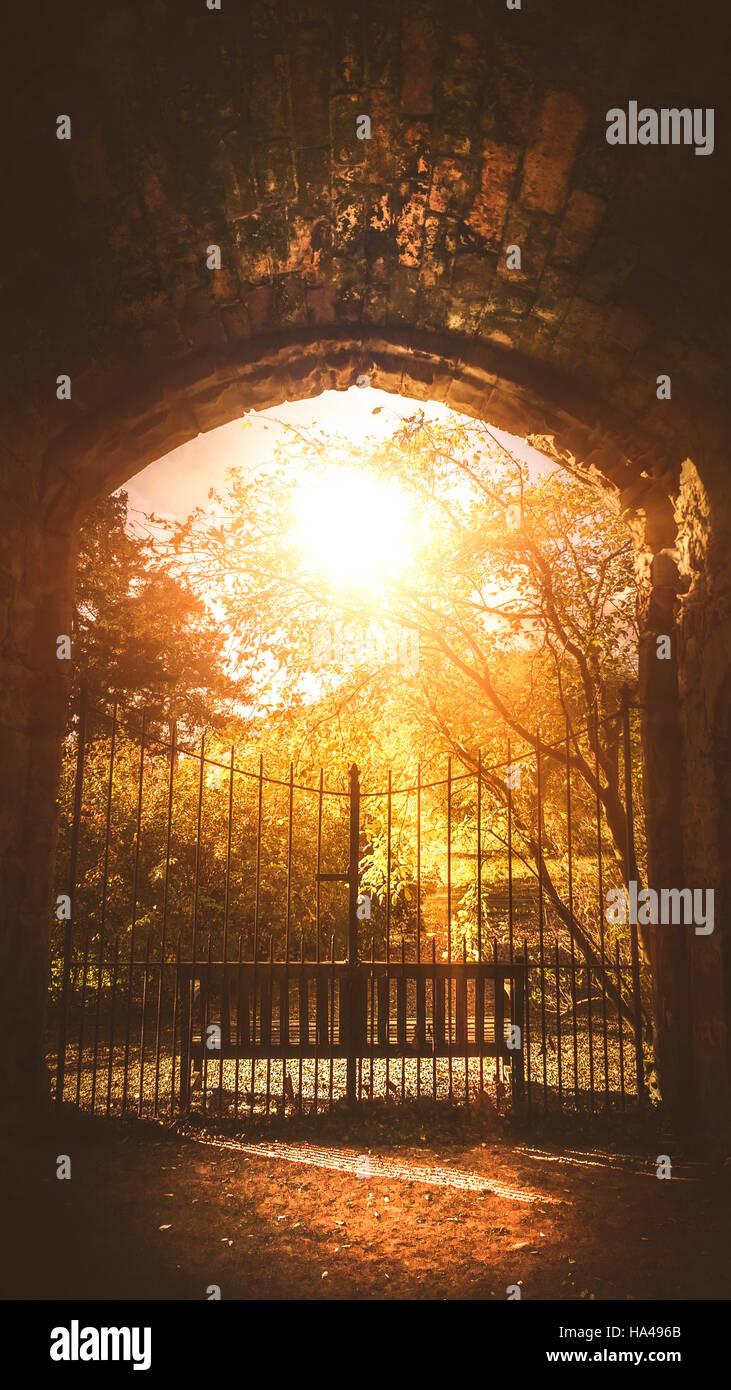 Metal viejo puerta que conduce a los misterios park Imagen De Stock