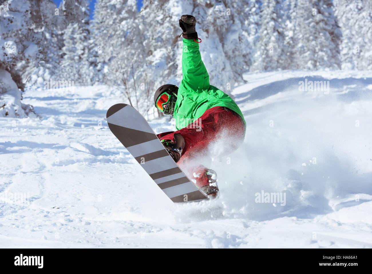 El Snowboarder saltos esquiador freeride bosque Imagen De Stock