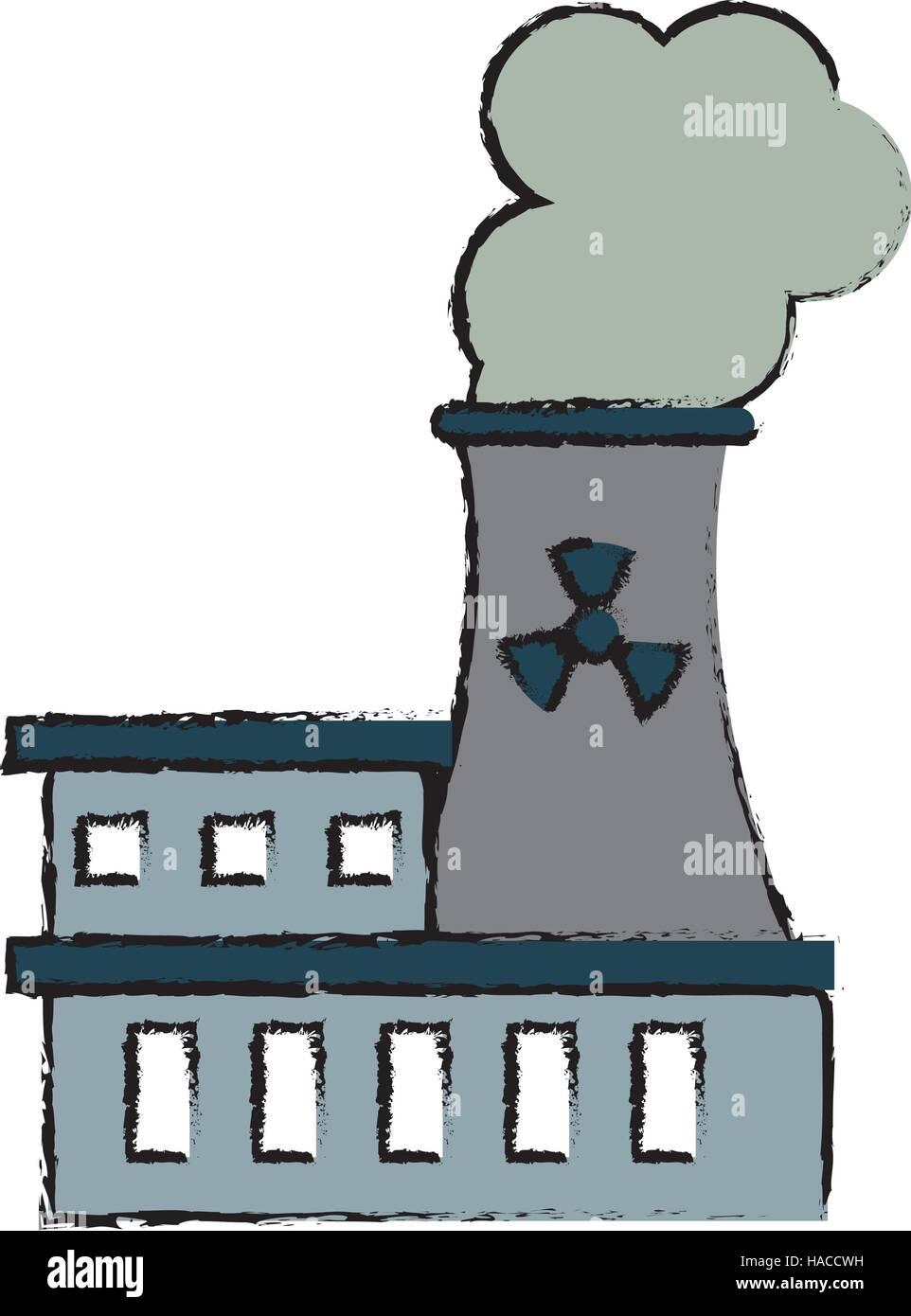 Dibujo De La Estación De Energía Nuclear Contaminación Energética