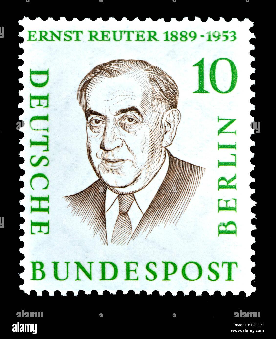 Alemán (W) de Berlín (1958) sello : Ernst Rudolf Johannes Reuter (1889-1953) Alcalde de Berlín Occidental Imagen De Stock