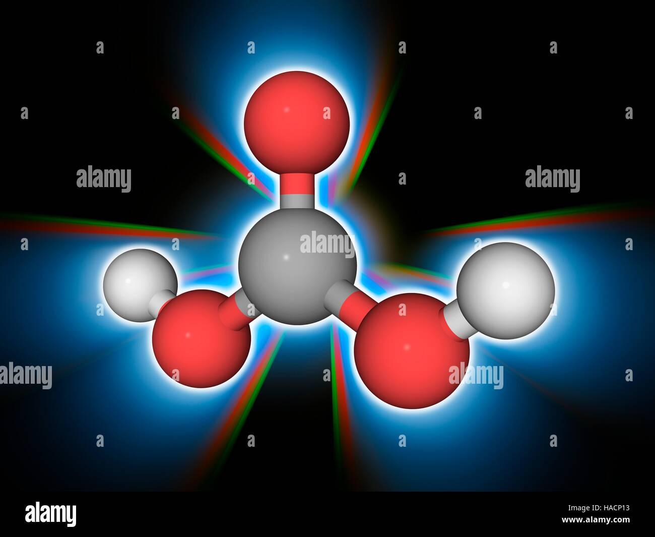 Ácido carbónico. Modelo molecular del ácido débil conocido como ácido carbónico (H2CO3). Imagen De Stock