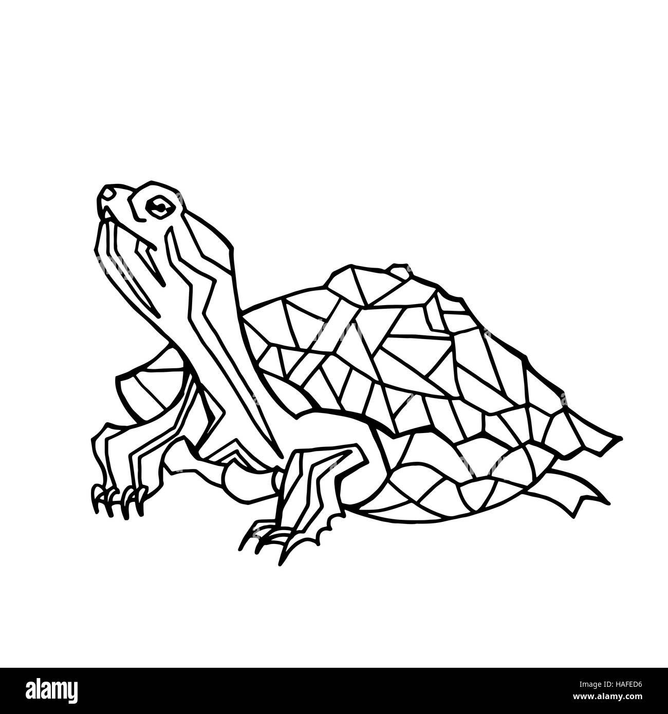 Vector Ilustración Dibujada A Mano De Tortuga Silueta Negra De