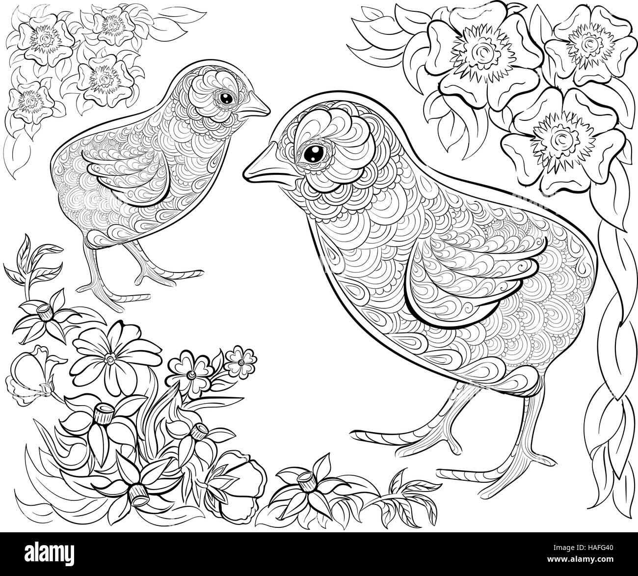 Patrón de tinta dibujados a mano. Libro para colorear para adultos ...