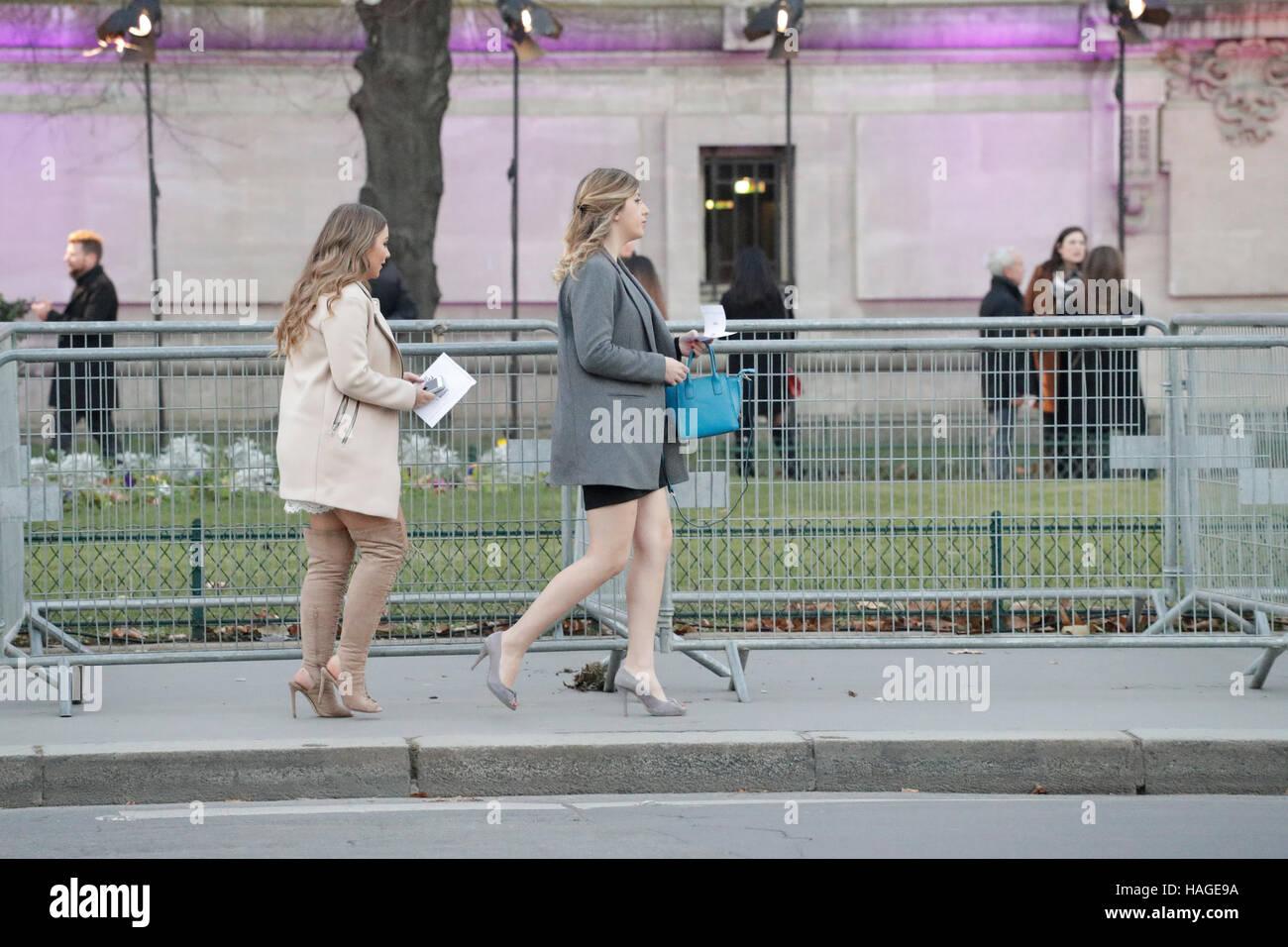 París, Francia. 30 Nov, 2016. Los huéspedes que lleguen en el Victoria's Secret Show celebrado en el Grand Palais. Foto de stock