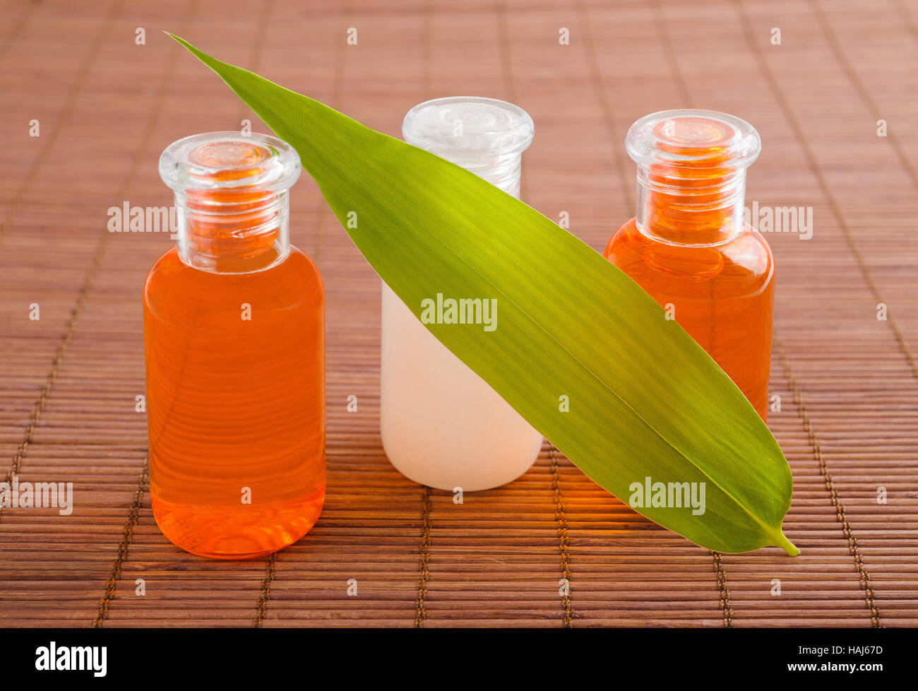 Los productos de bienestar de botellas con hojas de bambú Imagen De Stock