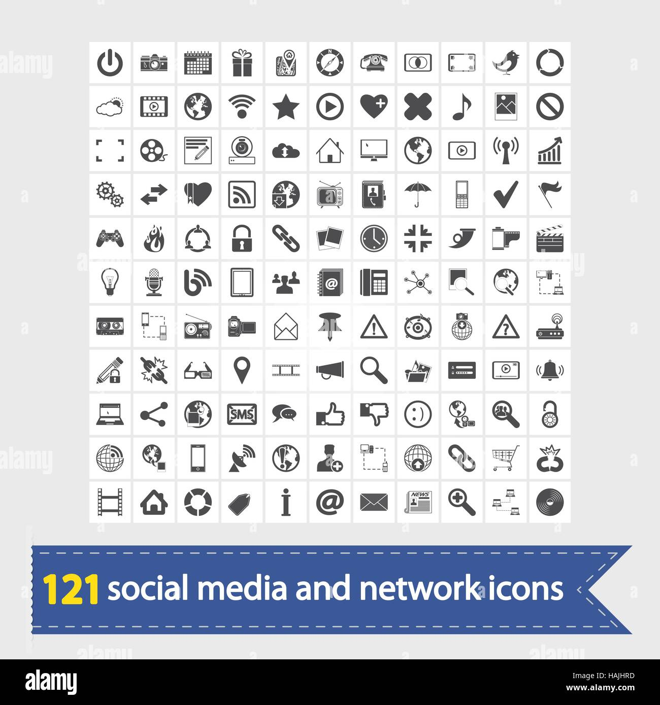 121 Los medios sociales y los iconos de red. Ilustración vectorial. Imagen De Stock