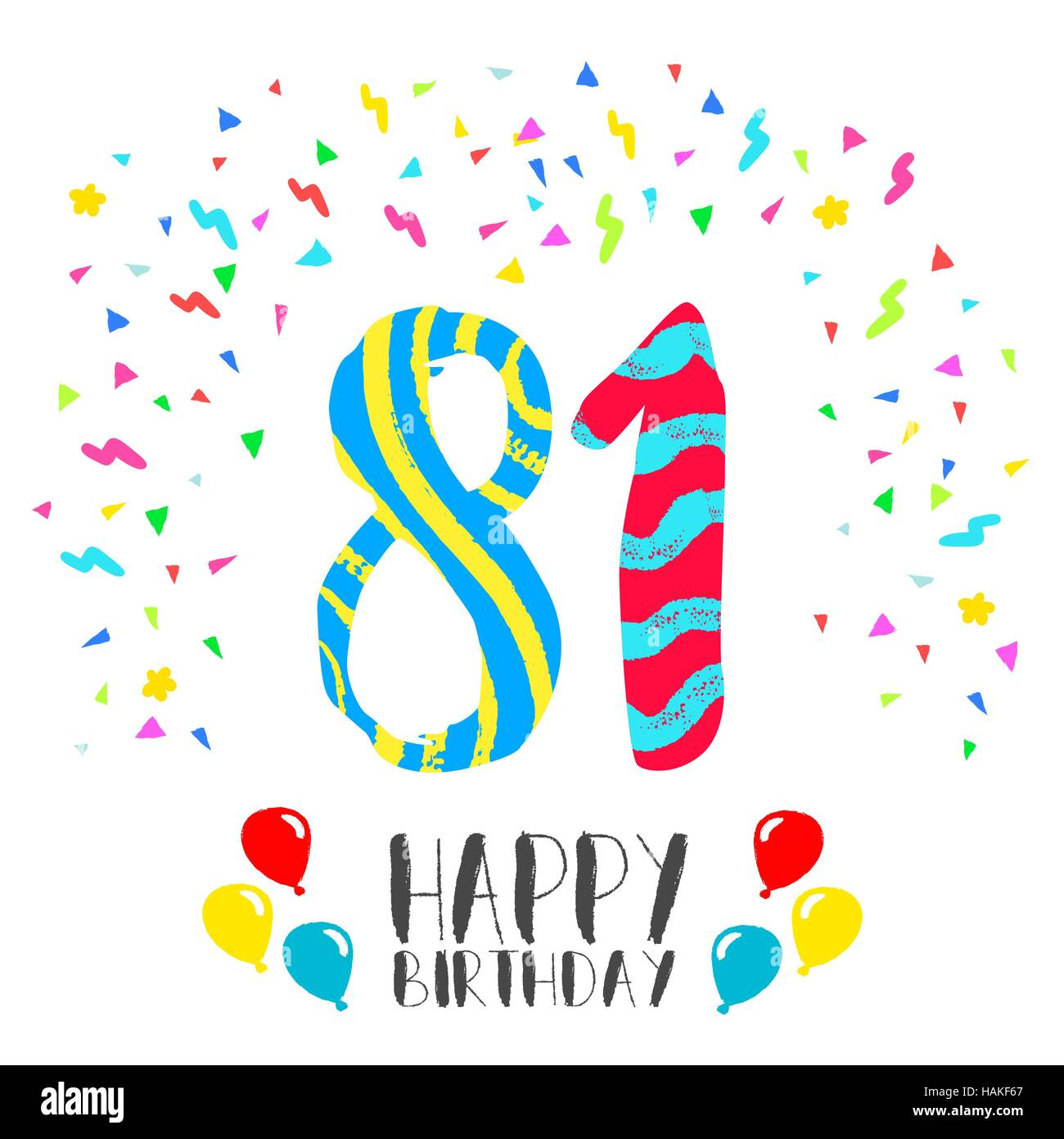 Feliz Cumpleaños Número 81 Tarjeta De Felicitación Para El