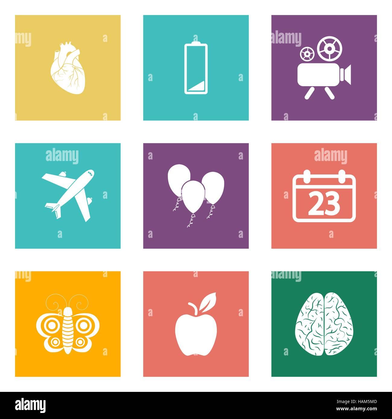 Iconos para diseño Web y aplicaciones móviles 2. Ilustración vectorial. Imagen De Stock