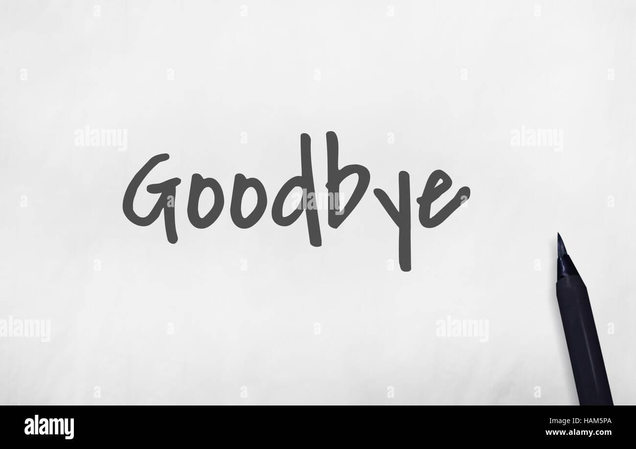 Adiós adiós frase diciendo salir más tarde concepto Imagen De Stock