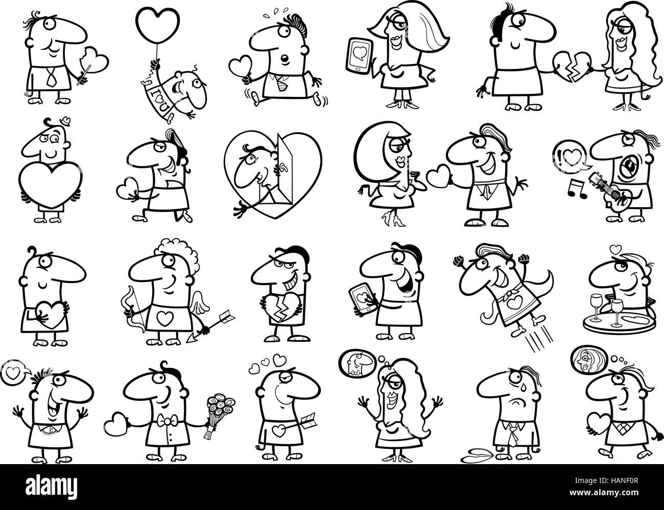 Ilustración caricatura en blanco y negro de personas divertidas en ...