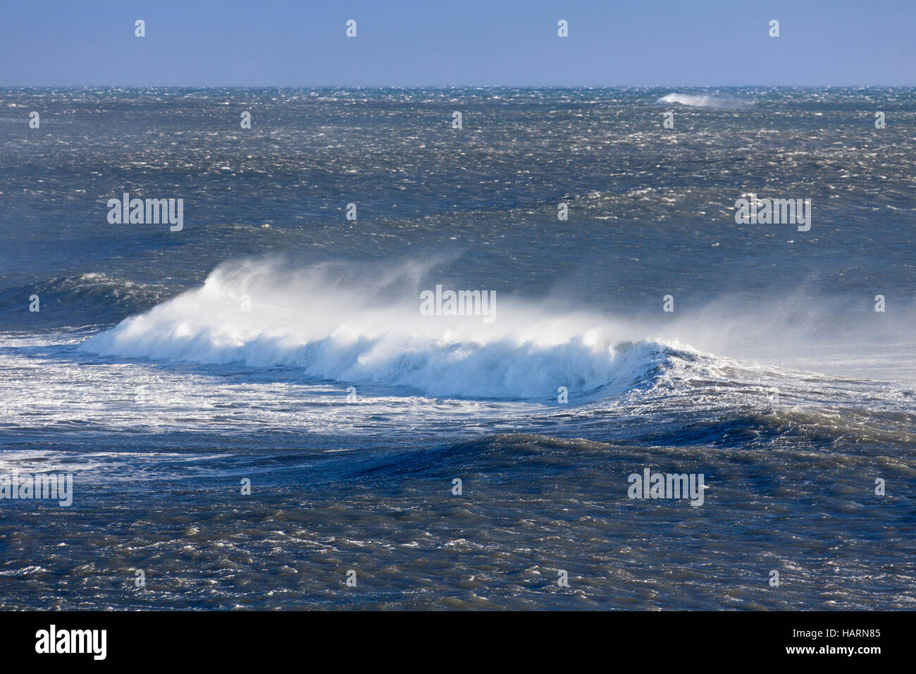 En la cresta de la onda del mar Ártico mostrando airborne spray y spindrift debido a los fuertes vientos Imagen De Stock