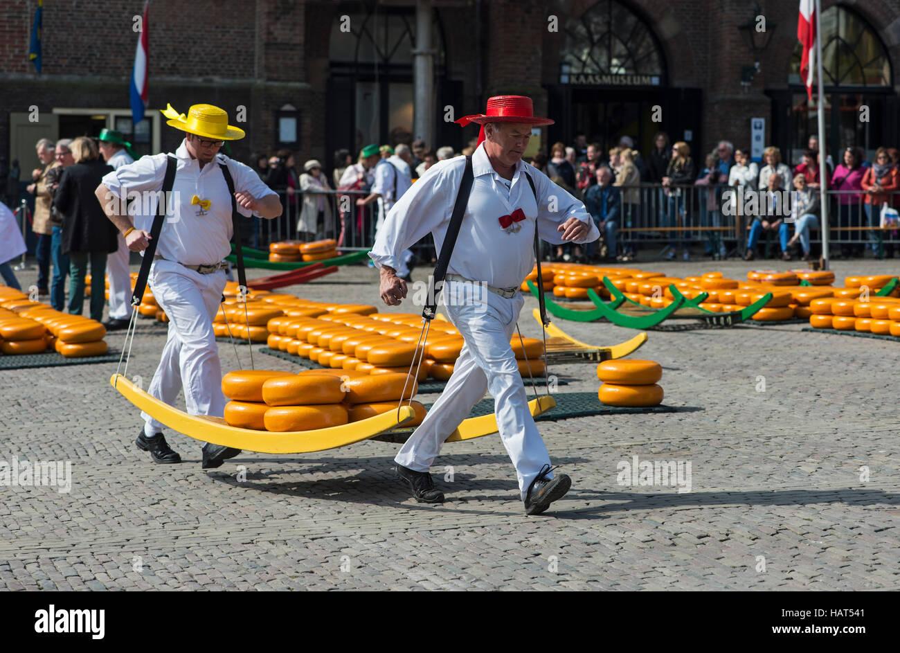 Transportadores De Queso En El Mercado De Quesos De Alkmaar Holanda Septentrional Holanda Fotografía De Stock Alamy