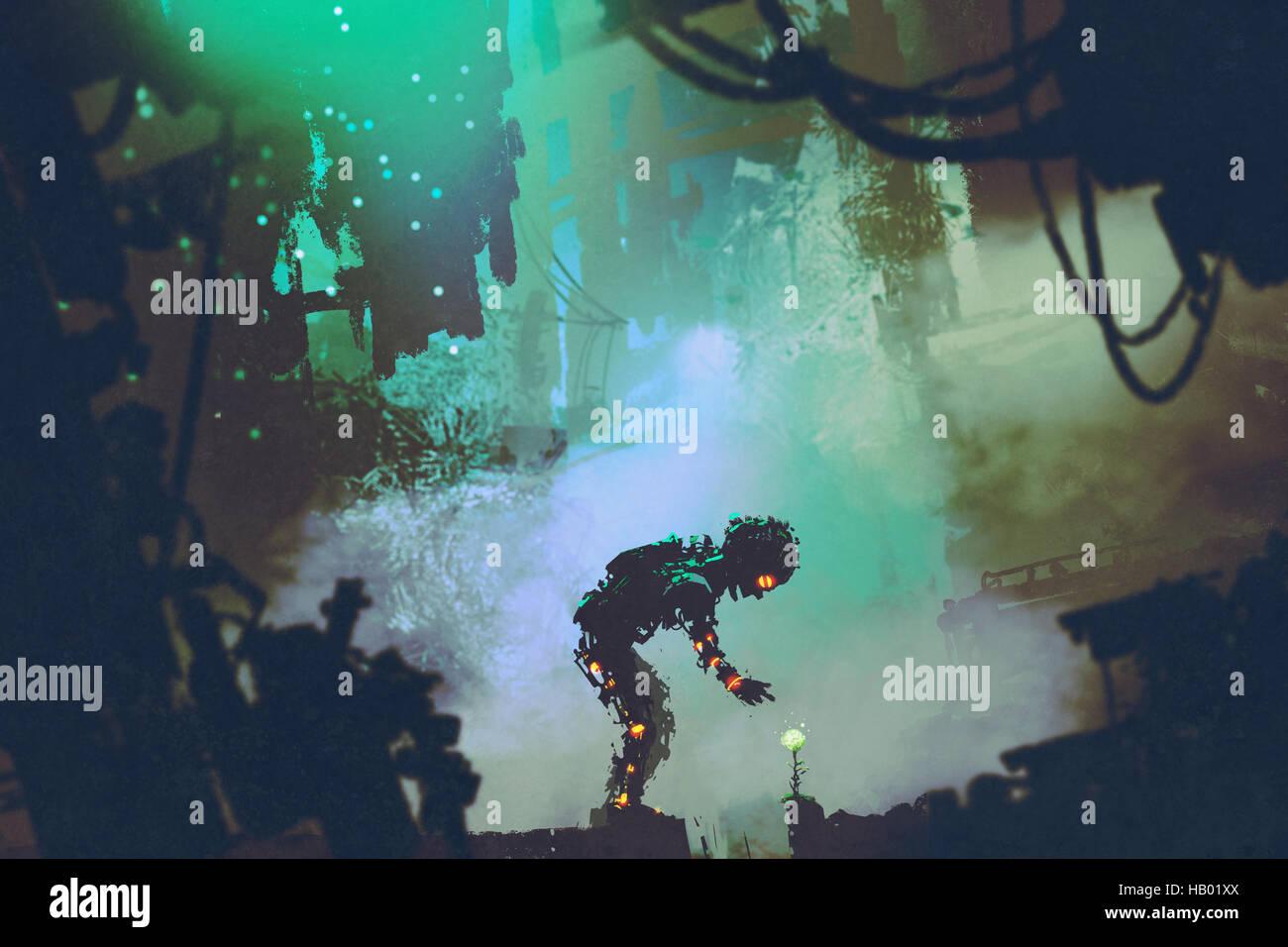 Lindo robot tocando flor en ciudad en ruinas, ilustración pintura Foto de stock