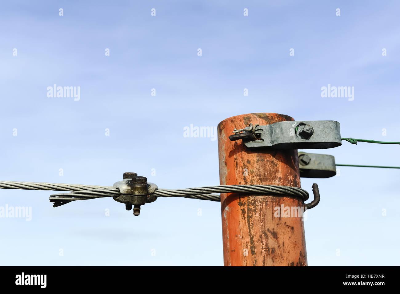 Cable de tensión con montantes en Viña Imagen De Stock