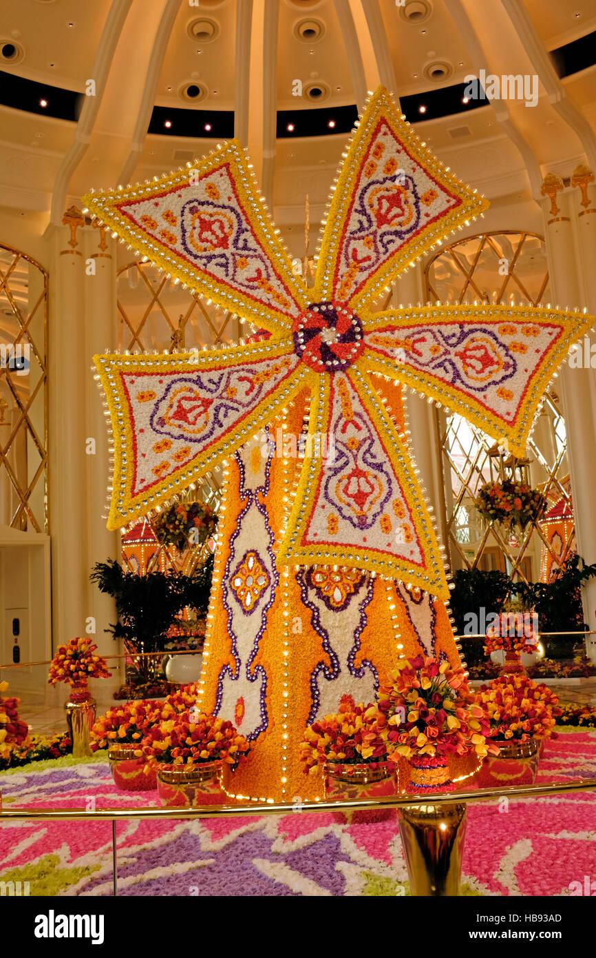 Molino florido dentro del Wynn Palace en la Región Administrativa Especial de Macao, China Imagen De Stock
