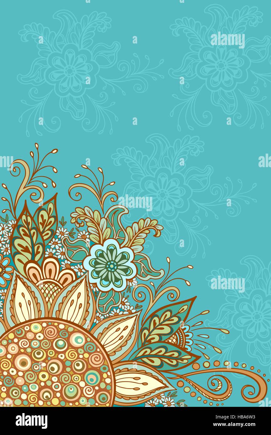 Contorno y coloridos dibujos florales Imagen De Stock