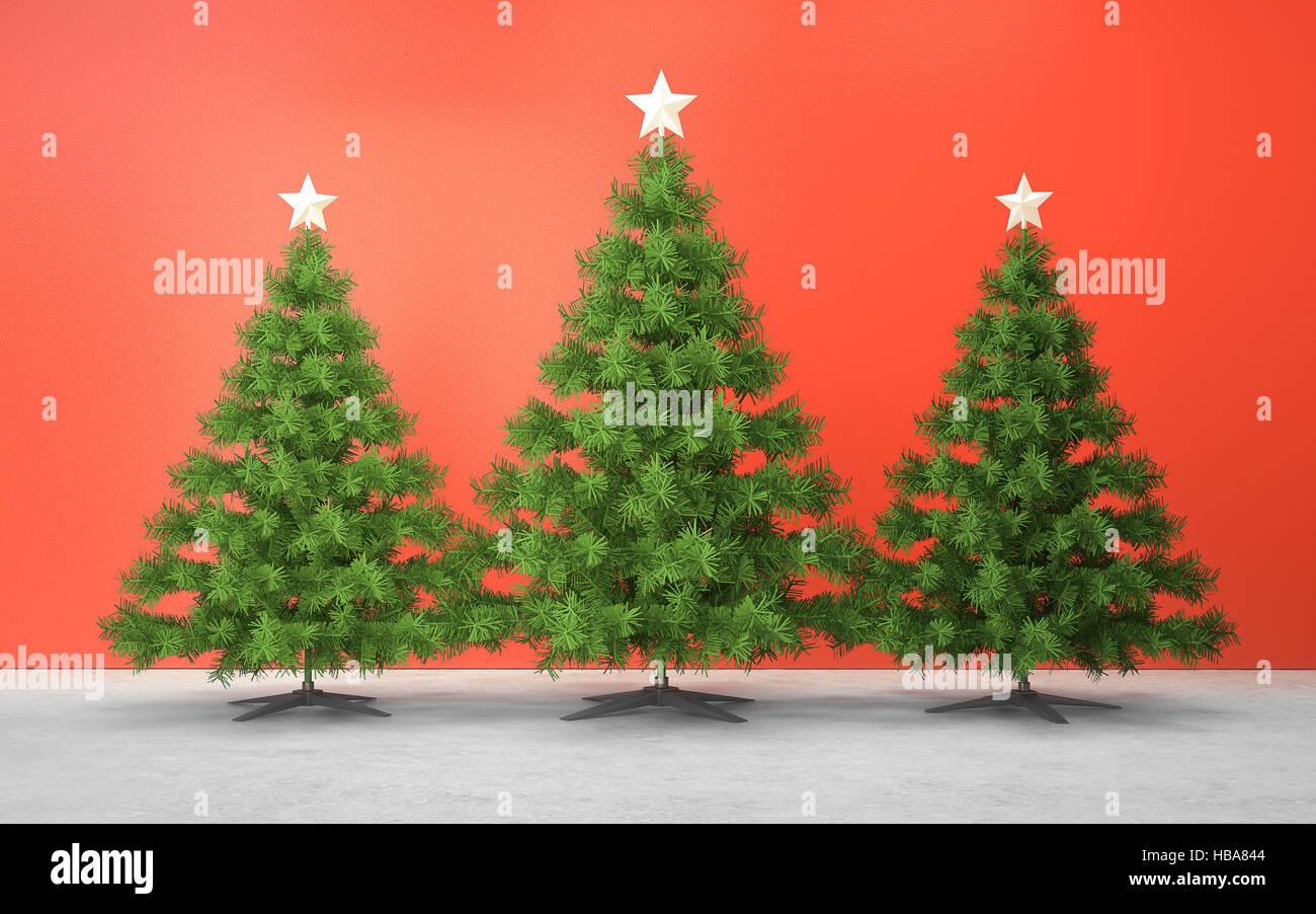 Decoración del árbol de navidad en la sala roja 3D rendering Imagen De Stock