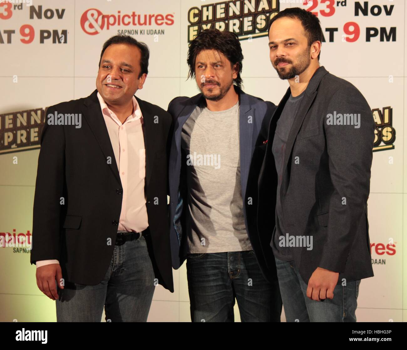 Punit Goenka Zee Entertainment Enterprises Limited Shah Rukh Khan Rohit Shetty Zee TV's party film Chennai Express Imagen De Stock