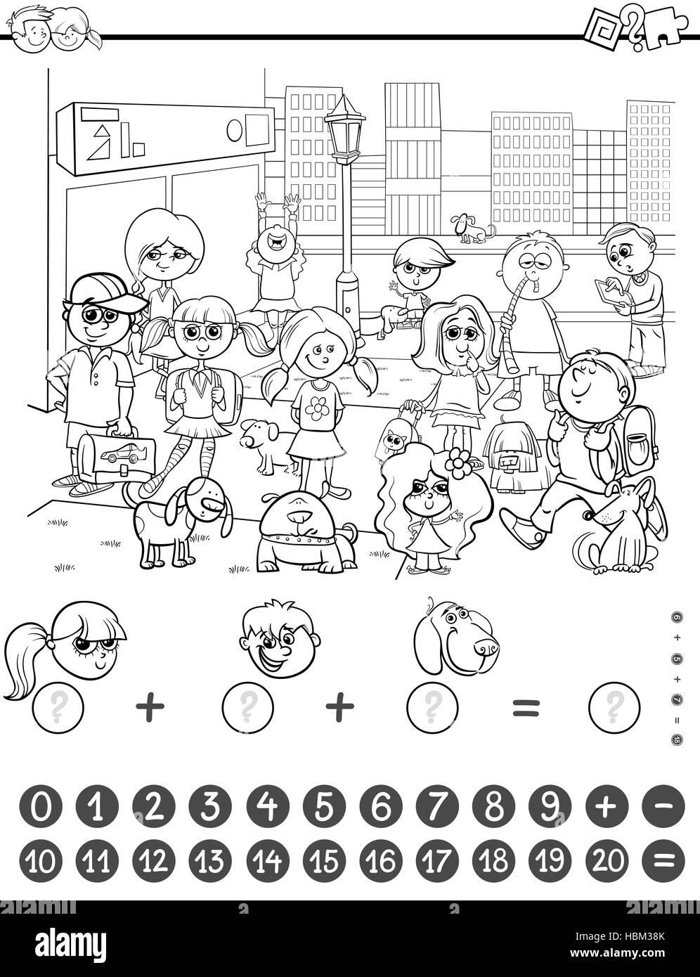 Libro Para Colorear Juego De Matemáticas Foto Imagen De Stock