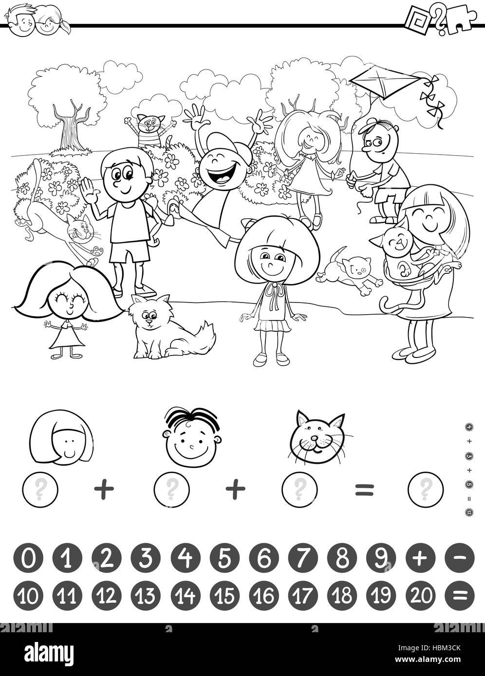 Libro Para Colorear De Actividad De Matemáticas Foto Imagen De